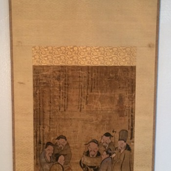 Very old Chinese Scroll painting Scroll, immortals, wise men, monks? Signed marked