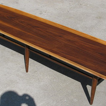 "Danish Modern Bassett Surfboard Coffee Table ""Artisian Collection"""