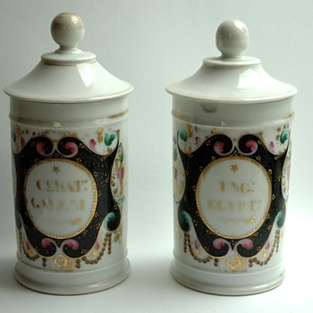 pair of antique french porcelain  apothecary pot .