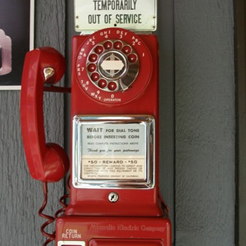 Red Payphone manufactured by Automatic Electric Co. - Telephones
