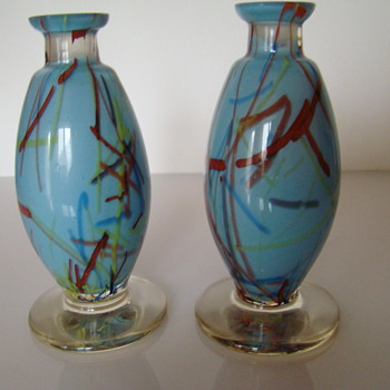 Pair of Bohemian peloton glass vases