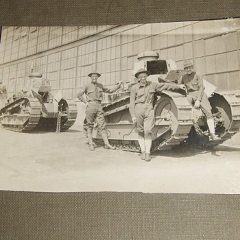WW1 RPPC of doughboys with Renault FT TANKS