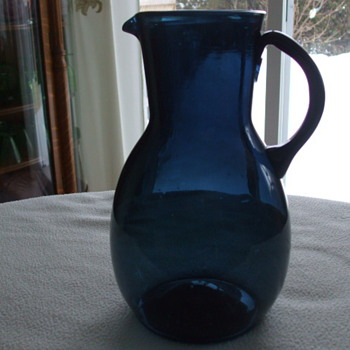 Large Blown Glass STIEGEL Blue PITCHER- Who Made It- and When? - Glassware