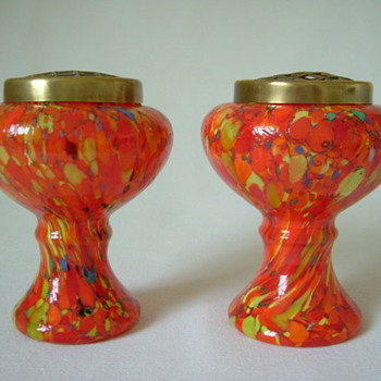 Czech Art Deco Spatter Glass Urns  - Art Glass