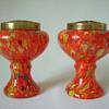 Czech Art Deco Spatter Glass Urns