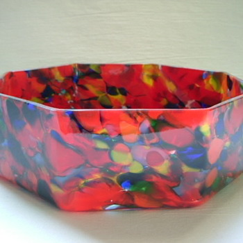 Czech Art Deco Spatter Glass Bowl