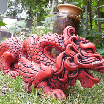 Red Dragon Yard Art (concrete?) - Asian