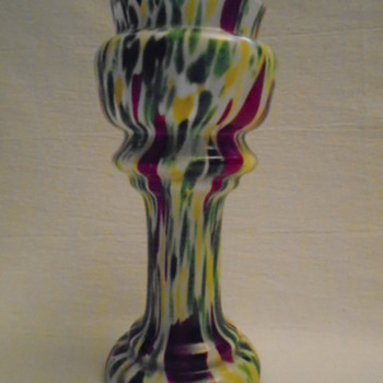 Welz Pedestal Vases Green Aventurine, Oxblood and Yellow - Art Glass