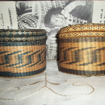 Two Trinket Baskets Purchased in 1946 at Cherokee Reservation in Western North Carolina - Native American