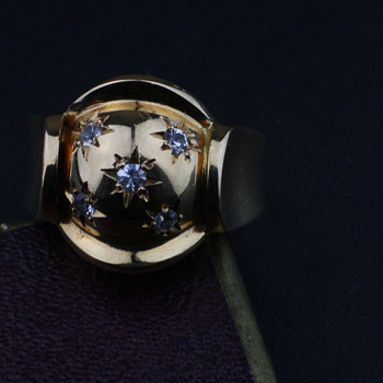 Late 40's star setting 18K gold ring - Fine Jewelry