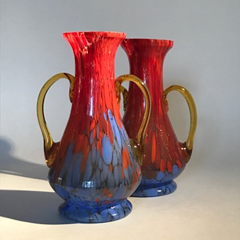 Pair of Amber Handled Czech Glass Spatter Vases