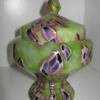 Czechoslovakia Glass coverd Candy Dish with unusual color combo by Kralik - Art Glass