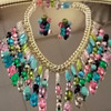 West German Eloxal & Acrylic/Lucite Bib necklace & earring set.