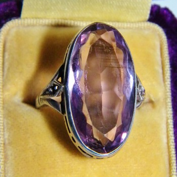 Antique Victorian Oval Pale Amethyst Sterling Ring 24mm x 12mm - Fine Jewelry
