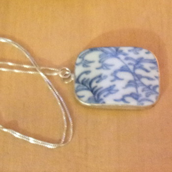 Blue and White Porcelain Pendant - Costume Jewelry