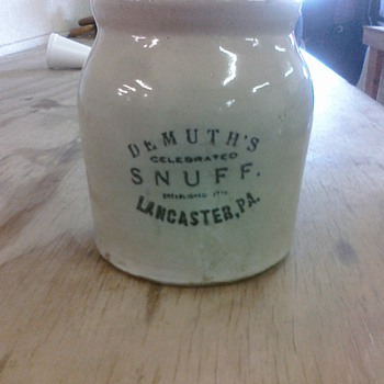My Demuths Tobacco Snuff Jar, Lancaster, PA - Tobacciana