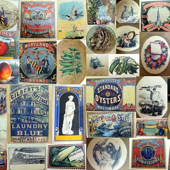 Collage of Canning Labels from the 1860&#039;s - Samuel Oliver, Artist - Advertising