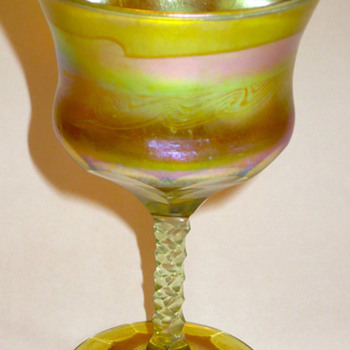  L.C.Tiffany Decorated and Cut Goblet - Art Glass