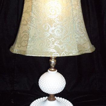Vintage Mabel Milk Glass Hobnail Night Stand Lamp - Lamps