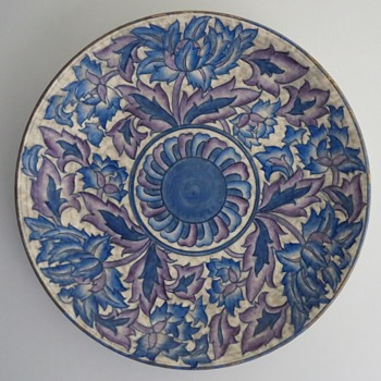 Charlotte Rhead Blue Peony Charger - Art Pottery