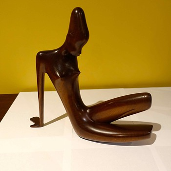 New Purchase for collection, Rare Art Deco Fruitwood Hagenauer Seated African Figure