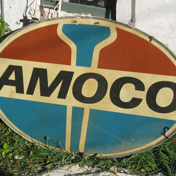 Amoco sign fiberglass with ring and hangers