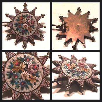 Flower Micro Mosaic Vermeil Star Brooch - Fine Jewelry