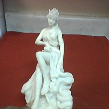 MARBLE RESIN GODDESS AND SERPENT STATUE