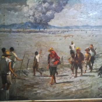 "Painting by Romeo Enriquez entitled ""Mount Pinatubo"" of 1992 - Visual Art"