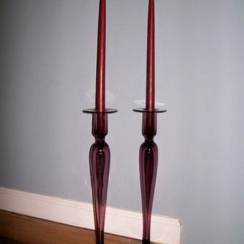 Vintage Venetian Glass Candlesticks