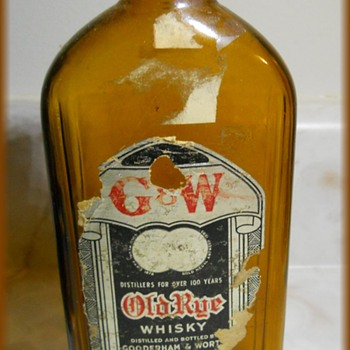 VINTAGE G&W GOODERHAM & WORTS LTD -- RYE WHISKEY BOTTLE EMPTY - Bottles