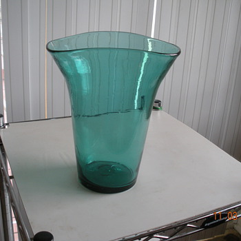 Turquoise Flower Vase - Art Glass