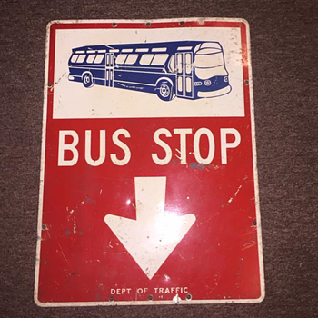 "1960s ""BUS STOP"" sign from New York City"