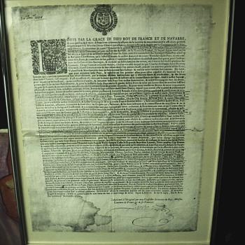 """Royal Decree""""Nicolas Denys""""30 Janvier 1654  - Paper"""