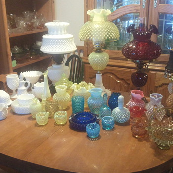 fenton hobnail collection, with lamps