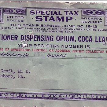 Special Tax Stamp - Stamps