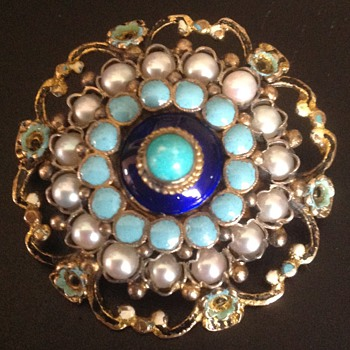 Austro-Hungarian Enamel Pin Brooch with Half Pearls