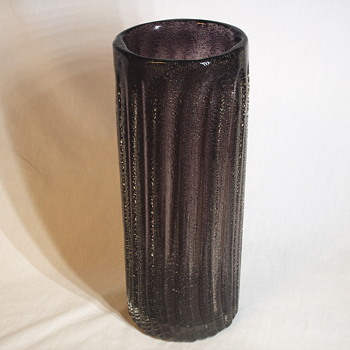 Cylinder Bullicante, Purple Art Glass Vase, 20 Century - Art Glass