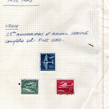 Germany Third Reich 1933-1945 - 1944 25th Anniversary of Airmal service stamps