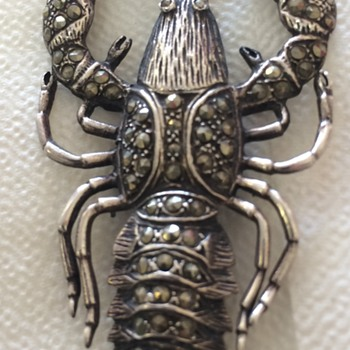 Silver and Marcacite Lobster Pin