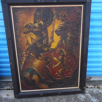 Very Large England Type Painting Knight/Horse - Visual Art