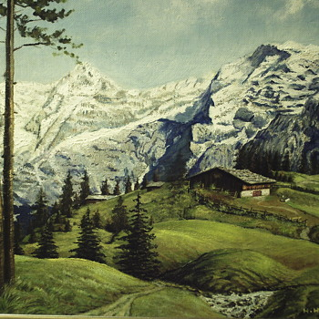 "Oil Painting on Masonite Board ""Germany landscape"" 1964 - Visual Art"