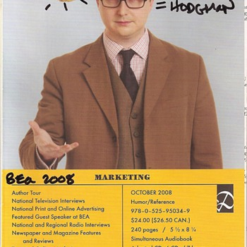 John Hodgman's autograph on book brochure