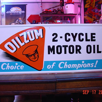 1960 Oilzum 2-Cycle Motor Oil Tin Sign...New Old Stock In Original Box
