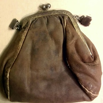 "Antique ""Victorian?"" leather purse"