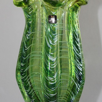 "Marti Glass Japan ""Seaweed""  Vase - Art Glass"