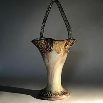 Loetz Yellow Onyx Vase with Handle C1890 - Art Glass