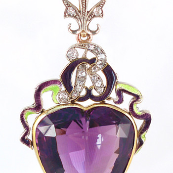 Suffragette Amethyst and Enamel Pendant circa 1910