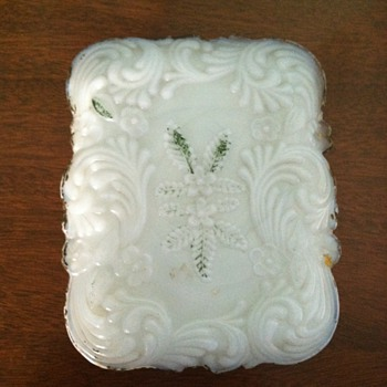 Ornate Milk Glass Box - Glassware