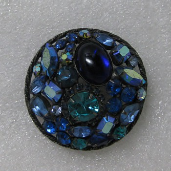 "Blue melange rhinestone pin on ""pewter"" - Costume Jewelry"